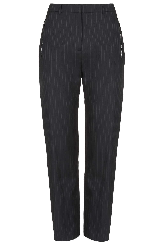 Pinstripe zip pocket trousers