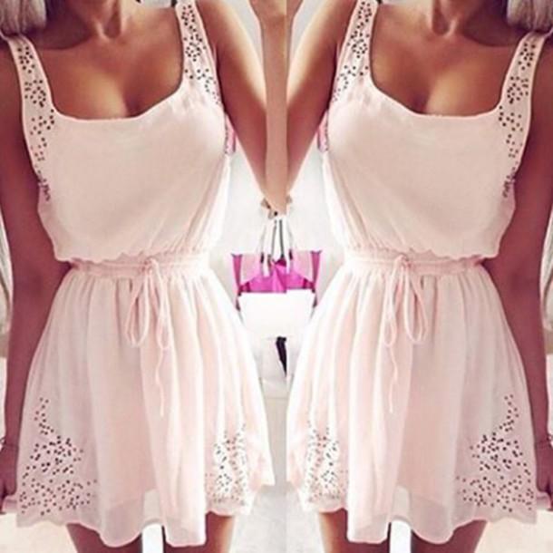 dress pink pink dress white dress underwear girl girly girly wishlist chiffon chiffon dress white sleeveless sleeveless dress