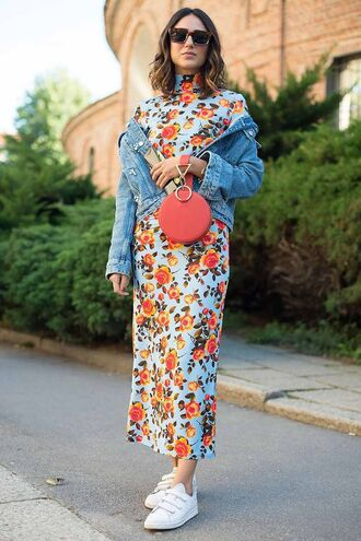 jacket floral floral dress sunglasses dress sneakers white sneakers denim jacket denim