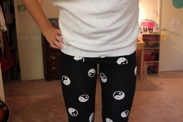 pants black yin yang ying yang leggings leggings