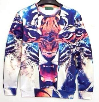 sweater tiger sweatshirt animal face print
