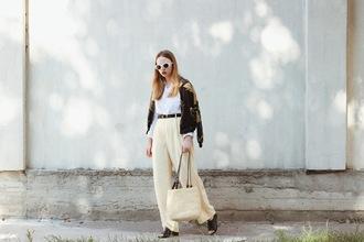 kristina magdalina blogger blouse pants sunglasses basket bag fall outfits