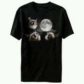 t-shirt,grumpy cat,moon,bohemian