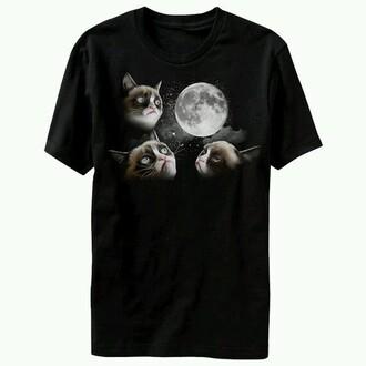 t-shirt grumpy cat moon bohemian