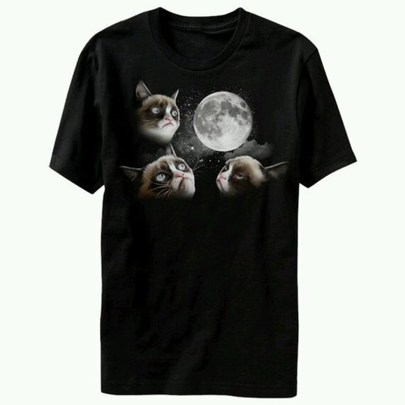 boho t-shirt grumpy cat moon