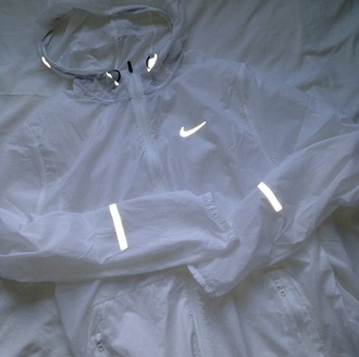 jacket white nike coat windbreaker reflective light raincoat