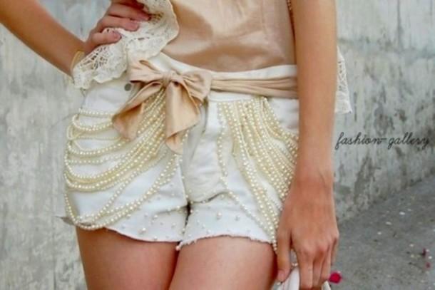 shorts beaded white cute
