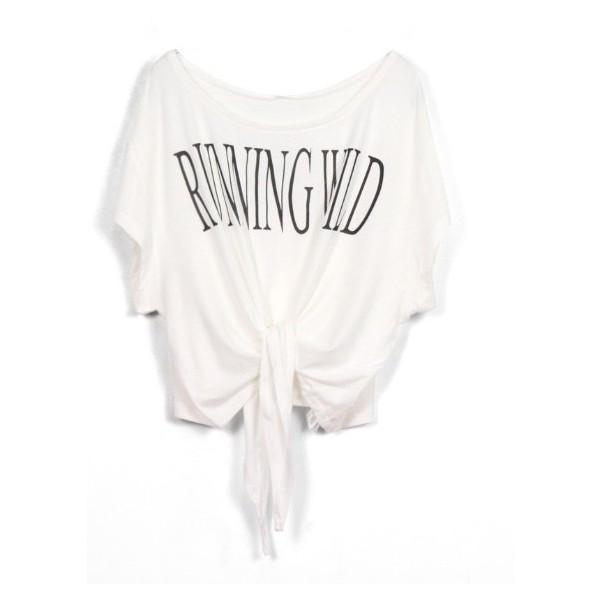 White RUNNING WILD Short Sleeve Bow Tie Crop T-Shirt - Polyvore