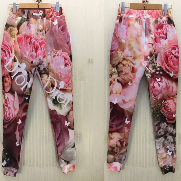 dior joggers flowers floral