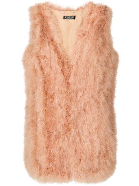 Twin-Set jacket feathers sleeveless women nude