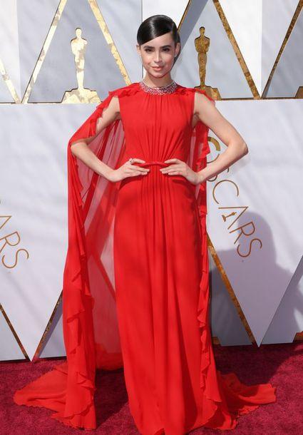 dress, sofia carson, red dress, red, red carpet dress, oscars 2018 ...