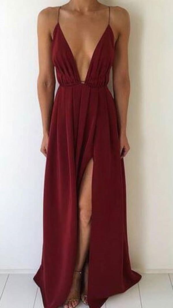 dress red dress evening dress red long dress slit dress v neck sexy summer summer dress