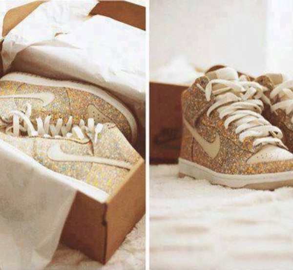shoes nike sparkle glitter shoes gold high top sneakers