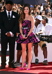 cocktail dress,dress,lucy hale,shoes,vma