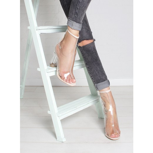 Melissa Nude Peep Toe Perspex Heel Ankle Boots : Simmi Shoes - Love Your Shoes!