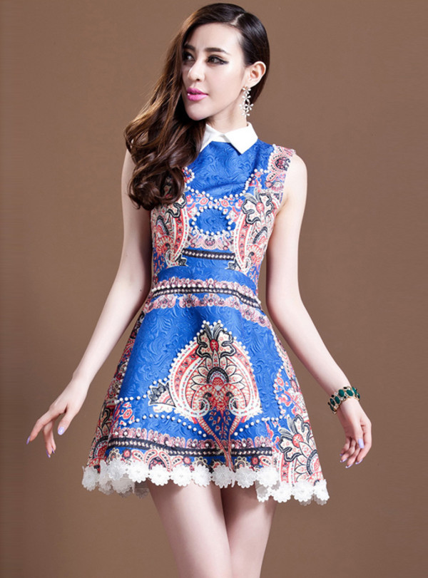 dress dress bqueen fashion girl party blue summer lapel jacquard retro chic elegant beaded print