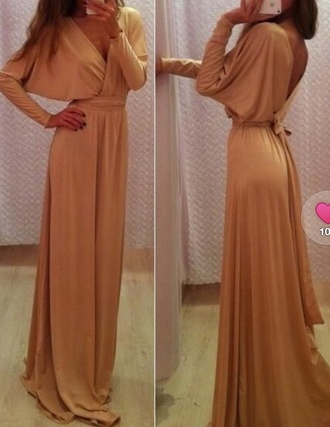 dress caramel maxi dress fashion blogger grecian dress clothes glamourous dress prom dress gold gold dress evening dress long dress beige dress sexy v neck dress full length long sleeve dress cocktail dress special occasion dress peach beige long prom dress long sleeves beige maxi dress prom clubwear girl v neck high waisted chiffon