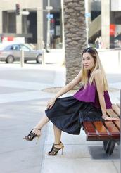 love joo kim,blogger,top,purple,black skirt,maternity,skirt,shoes,bag