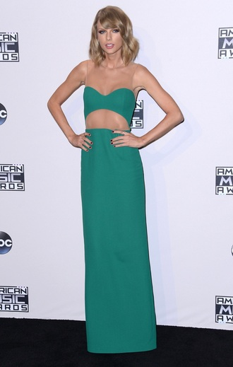 dress taylor swift green dress emerald green fashion sexy dress