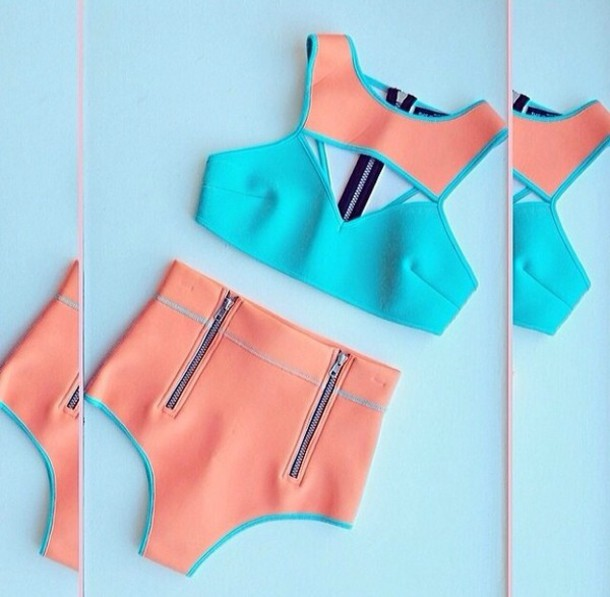 swimwear neon neon bikini two-piece turquoise swimwear orange swimwear gorgeous zip