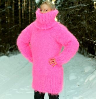 sweater pink hand knit mohair dress turtleneck angora wool cashmere alpaca fluffy soft supertanya