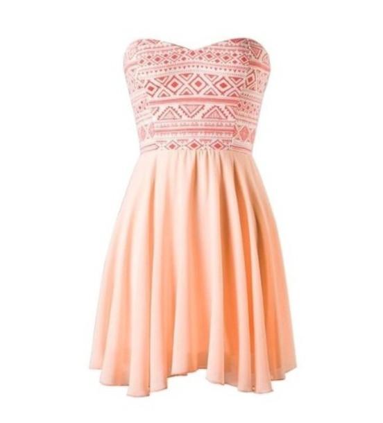 dress aztec peach dress mini dress fashion style summer dress girly dress