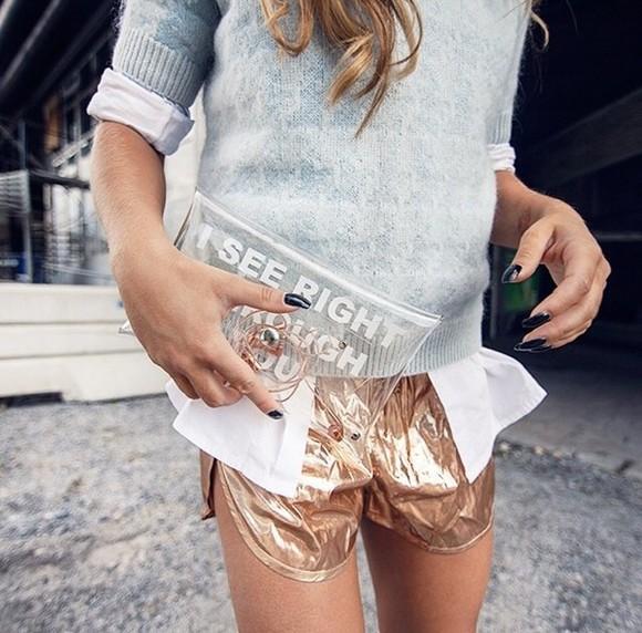 metallic rose gold bag