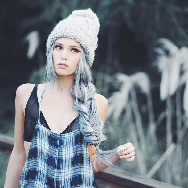 b01d3bf721028 hair accessory tumblr blue hair hair hairstyles long hair braid beanie grey  beanie knitted beanie chunky