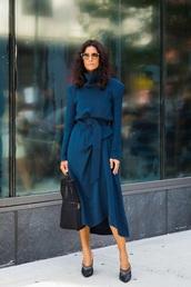 dress,midi dress,blue dress,navy dress,shoes,bag,sunglasses,long sleeves,long sleeve dress,mules