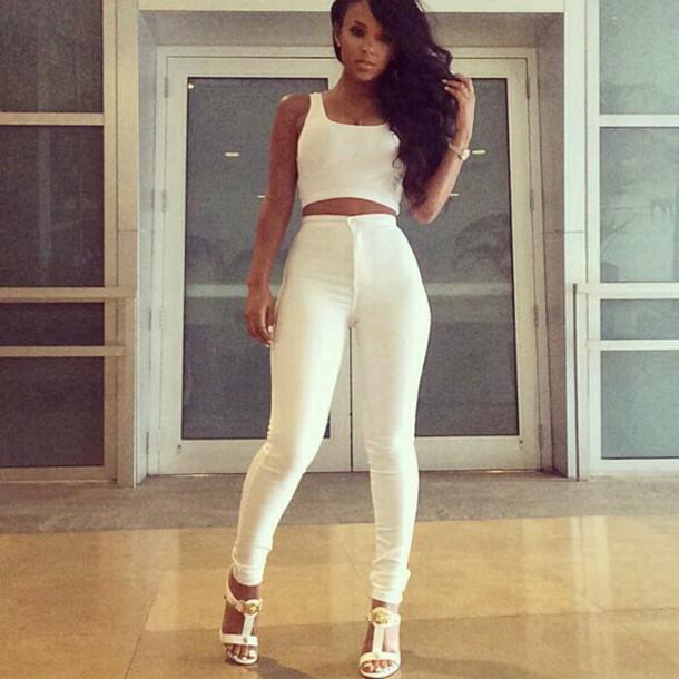 13148ebc86da jeans whie shoes white pants crop tops white crop tops white pants  beautiful gold top
