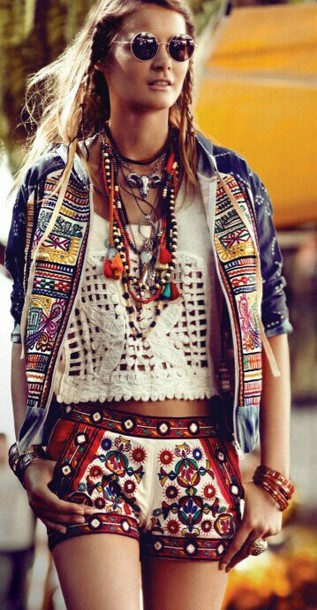 shorts top jacket short shorts boho bohemian