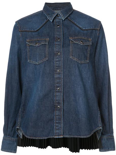 Sacai shirt pleated back women cotton blue top