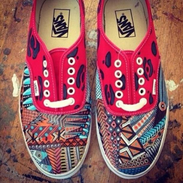 14ff888643efe7 shoes tribal pattern vans red blue