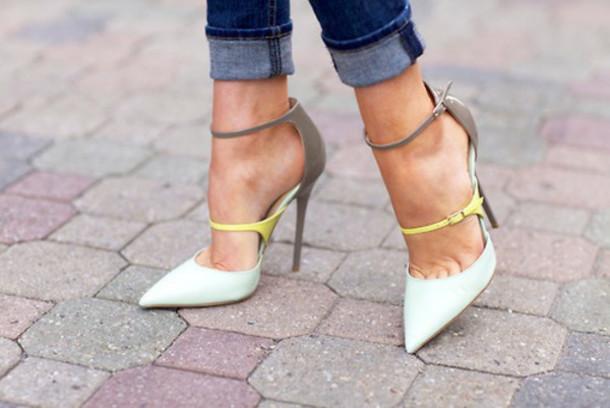 shoes pointed court heels lime colorblock stilettos