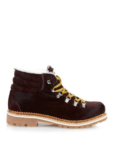 MONTELLIANA Margherita shearling-lined après-ski boots in burgundy