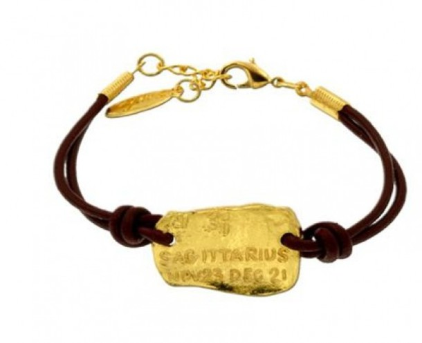 horoscope leather rope bracelet sagittarius gold brown jewels yellow jewels