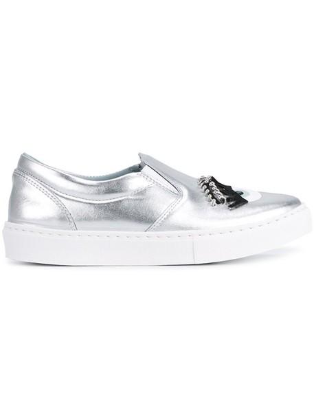 Chiara Ferragni metal women sneakers leather grey metallic shoes