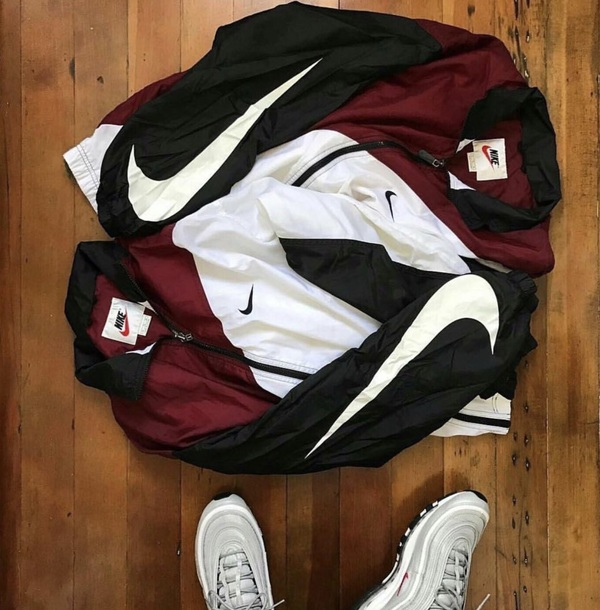 jacket black burgundy white nike vintage windbreaker
