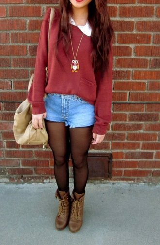 shoes sweater bag jewels cute lovely love brown combat boots outfit burgundy owl burgundy sweater loose fit sweater knitwear knitted sweater red sweater shirt oversized sweater cardigan red cardigan jeans shorts skin bracelets brown shoes