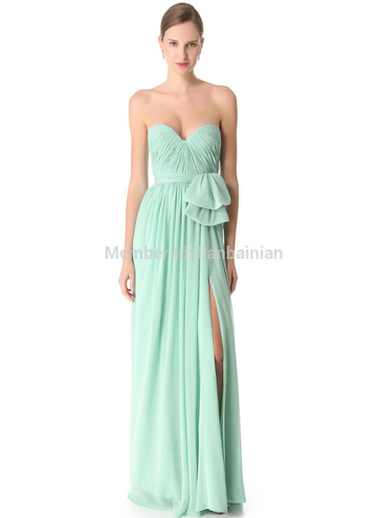 chiffon sweetheart long prom party 327 mint split mint dress bridesmaid red carpet fashion dress women dress girl dress high quality dress chiffon dress