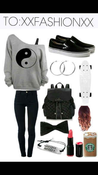 sweater ying yang jeans bag