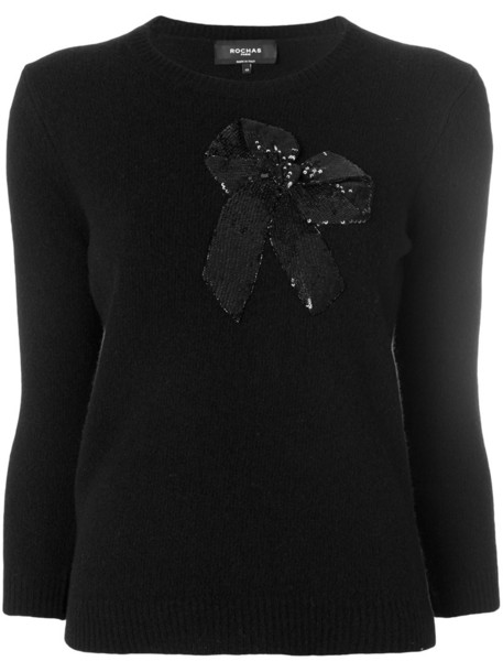 Rochas top knitted top bow embroidered women black wool