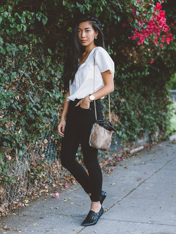 honey and silk blogger top jeans bag jewels black jeans