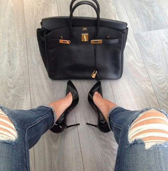jeans black pointed toe heels bag gold ripped jeans