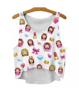 tank top emoji print trendy white summer teenagers cool fashion style cute kawaii it girl shop