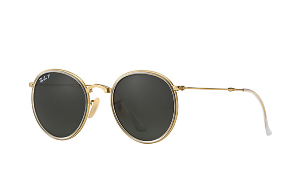 ray ban round folding classic sunglasses  ray ban rb3517 112/n5 51 22 round folding classic sunglasses