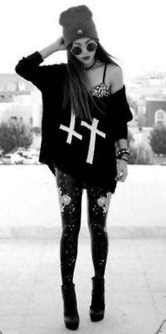 blouse cross grunge wide black girl