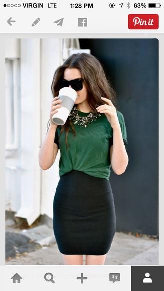 black skirt green shirt tucked in pintrest high waisted skirt classy