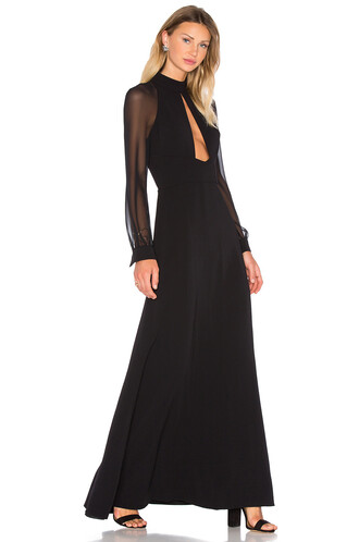gown high high neck black dress