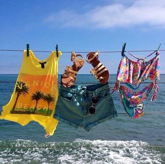 t-shirt shirt beach yellow shorts sandals bikini swimwear